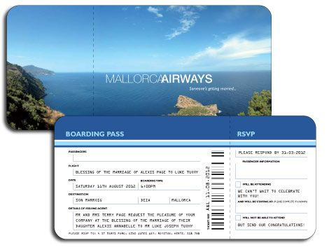 Prices for your dream Destination Wedding Invitations and - airline ticket invitation