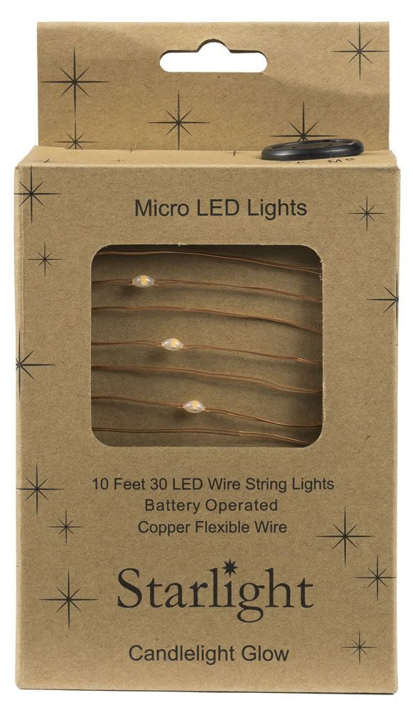 10\' Starlight 30LED Microlights w Battery Box Copper Wire | O ...