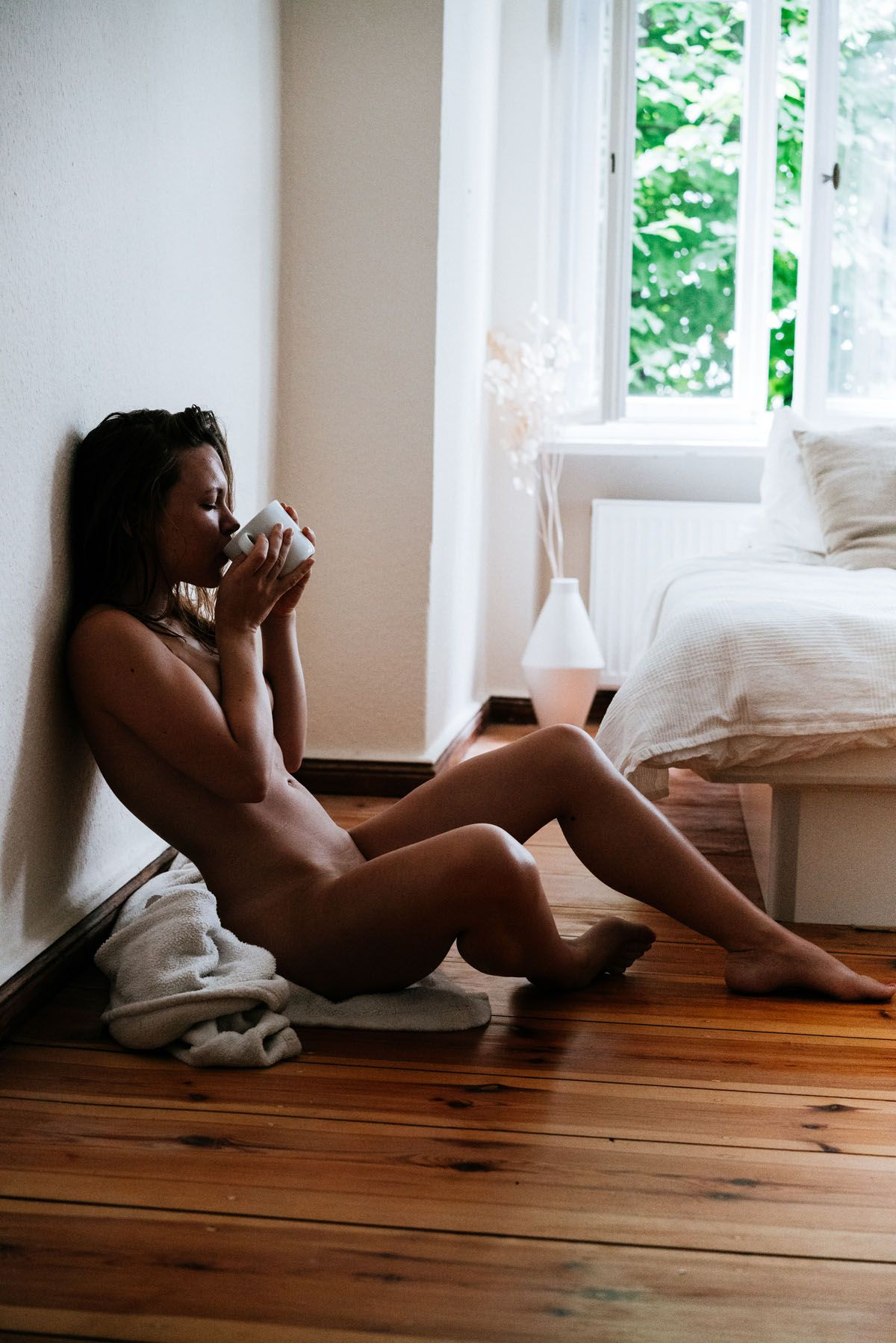 Phrase sorry, naked woman drinking morning coffee