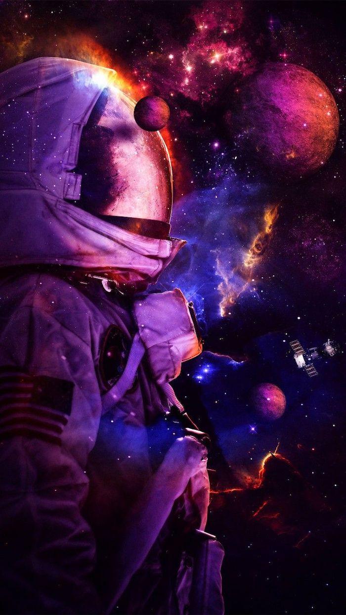 Astronaut In The Middle Of Space Space Wallpaper Hd Planets Around Him Sky Filled With Sta Cool Galaxy Wallpapers Galaxy Wallpaper Cool Wallpapers For Computer
