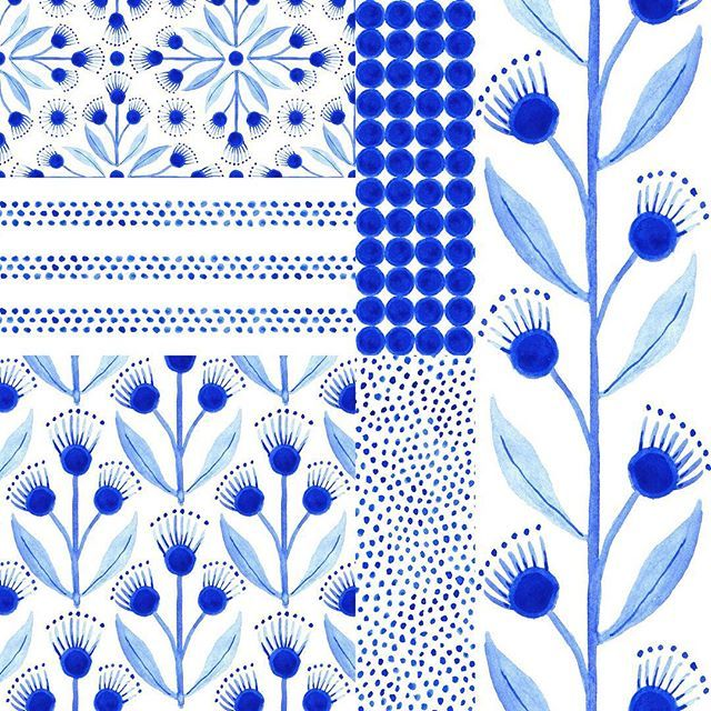 Working On A Collection Of Coordinating Blue Watercolor Patterns