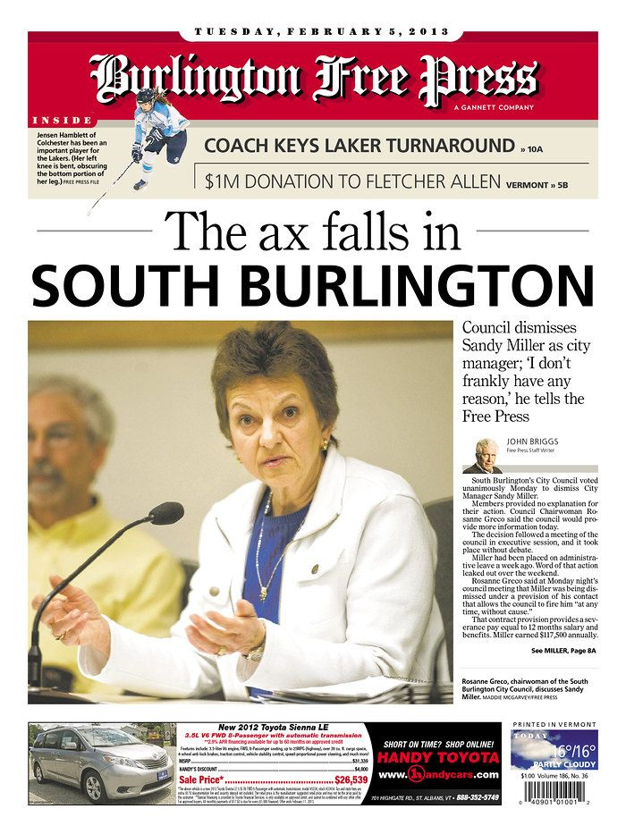 Today's Free Press front page www burlingtonfreepress com