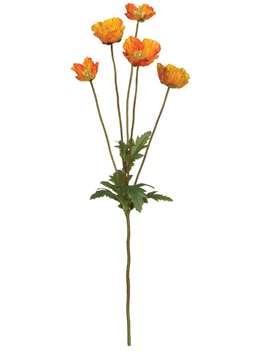 Wholesale Mini Poppy Stem, Stems Orange Ga Stems