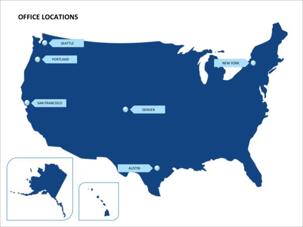 US map presentation template with Alaska and Hawaii callouts