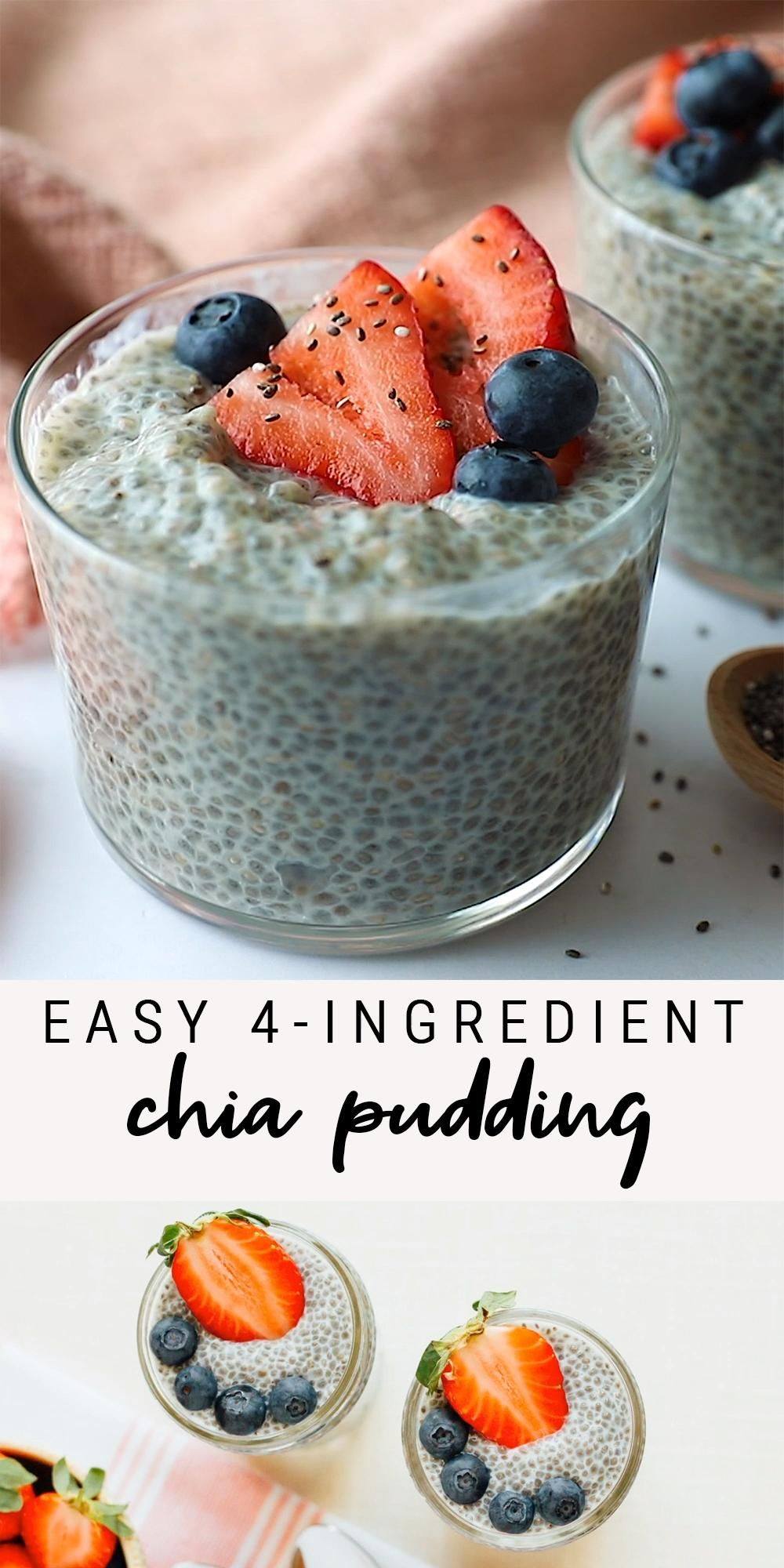 Easy 4-Ingredient Chia Pudding | Healthy Snack, Breakfast, Dessert | Vegan, Paleo, Keto, Gluten-Free