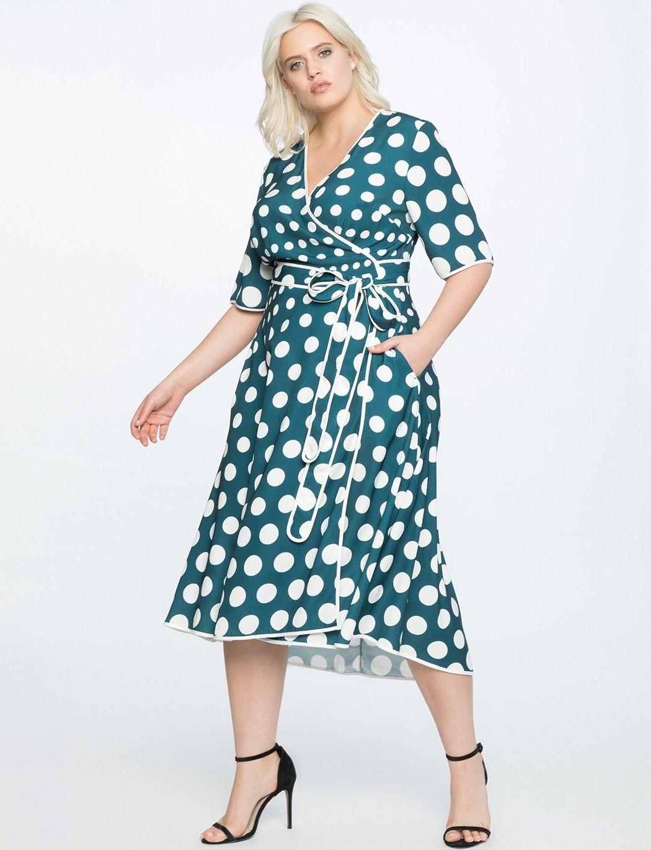Eloquii Printed Midi Wrap Dress 20 Dresses Plus Size Wedding Guest Dresses Dresses To Wear To A Wedding [ 1370 x 1050 Pixel ]