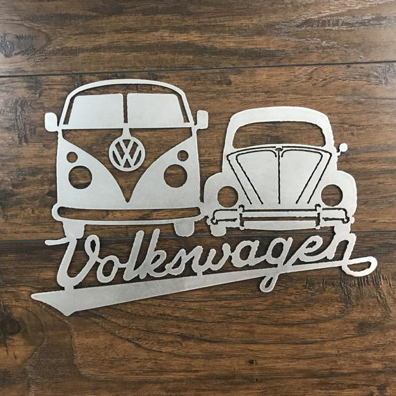 Vw Bus Bug Metal Wall Art 16 Gauge Raw Steel Made In Usa Great Gift Idea Great For Home Bars Garage Or Your Man Metal Wall Art Metal Wall Art Sign