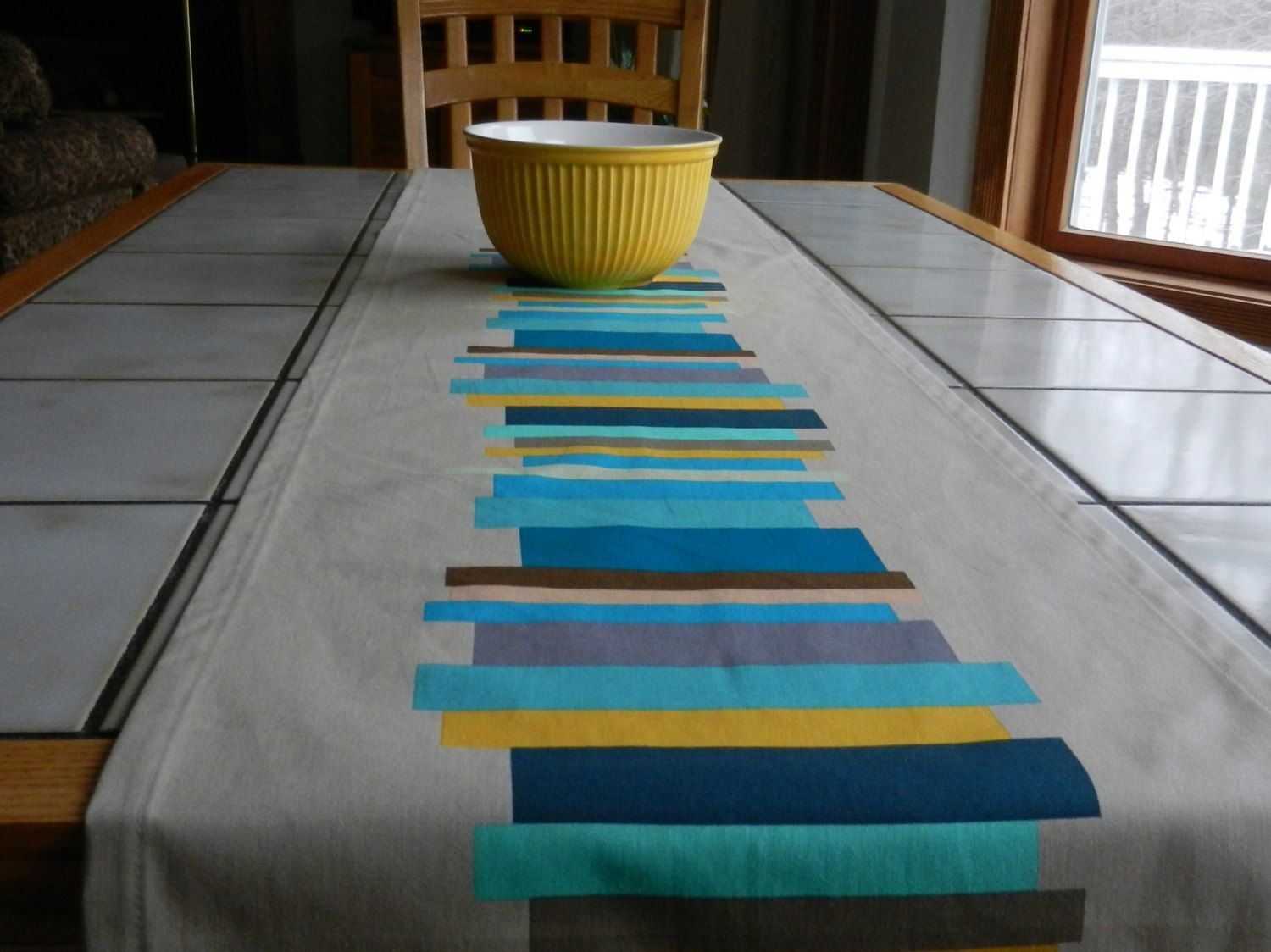 Brown,Turquoise, Gold Table Runner, Anna Maria Horner home dec ...
