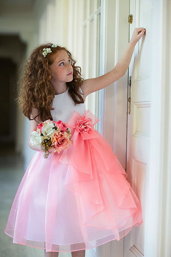 Flower Girl Dress #KC1218C : Satin and Organza Dress w/ Flower ...