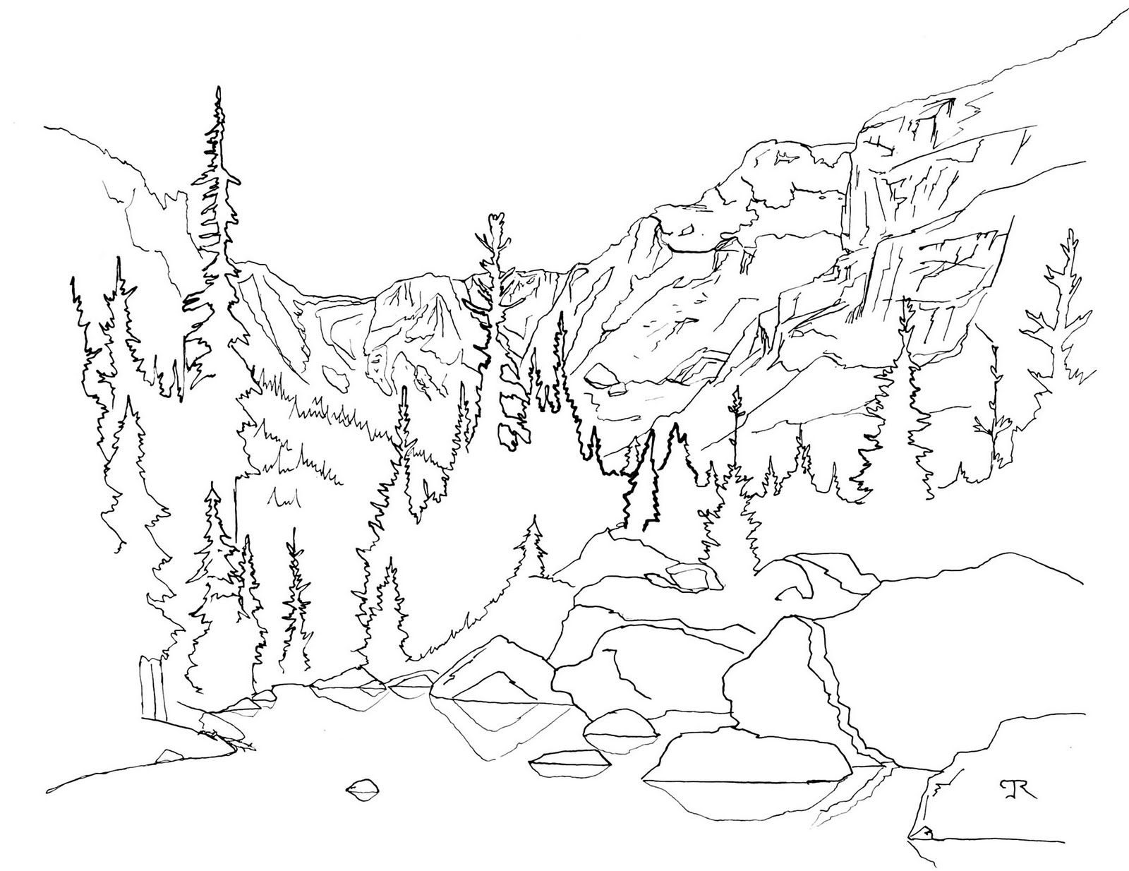 Line Art Mountains : Image gallery mountain line drawing