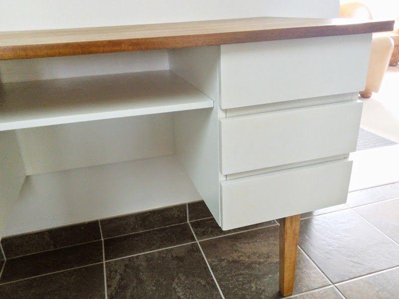 Restauration bureau vintage, style scandinave, peinture meuble