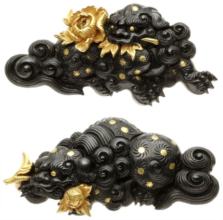 Late edo period shishi menuki