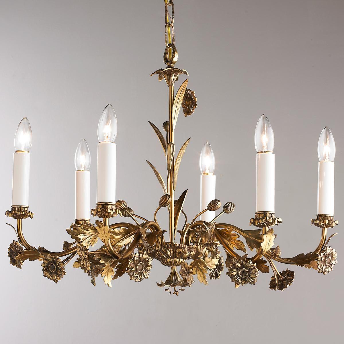 Antique 6 Arm Floral Brass Chandelier In 2020 Antique