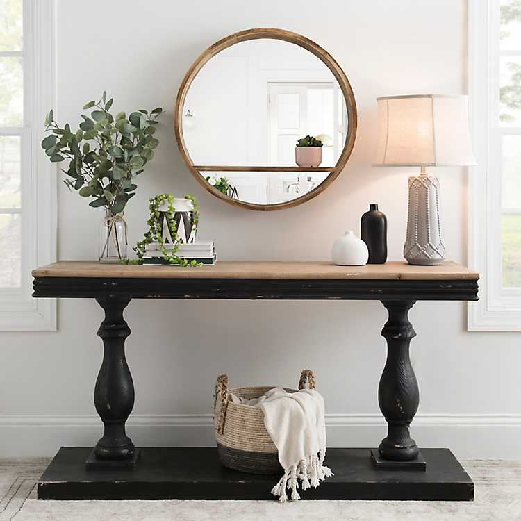 Distressed Black Double Pedestal Console Table In 2020 Farmhouse Console Table Console Table Decorating Dining Room Console