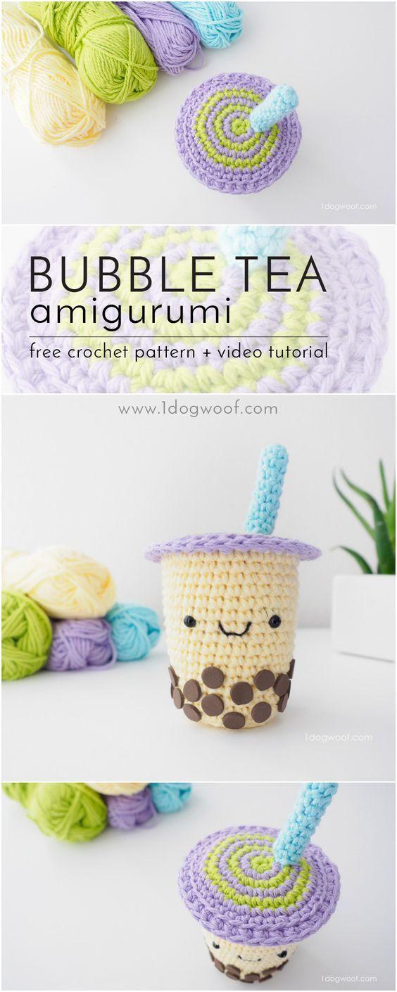 FREE crochet pattern for an adorable boba milk tea amigurumi - enjoy ...
