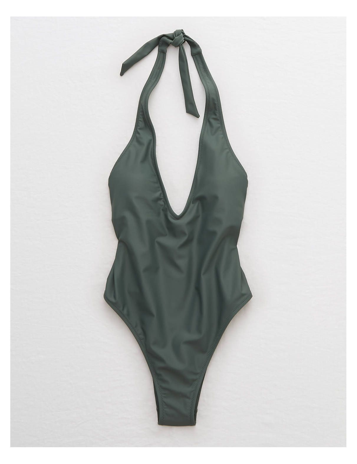 db8d9a005e8ef Aerie Super Plunge One Piece Swimsuit , Green | Aerie for American Eagle