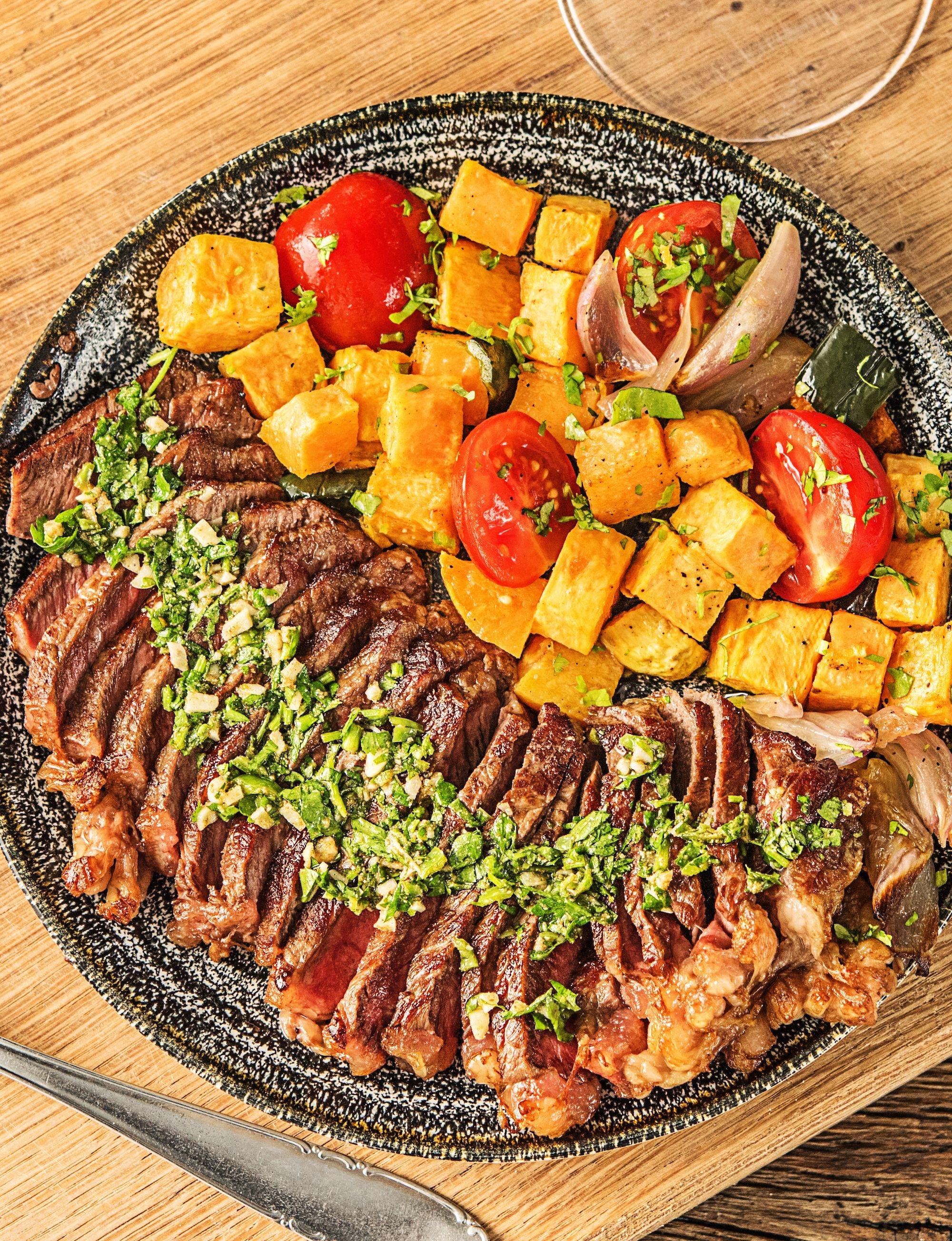 Argentine Chimichurri Steak Recipe Hellofresh Recipe Healthy Steak Recipes Salad With Sweet Potato Healthy Steak
