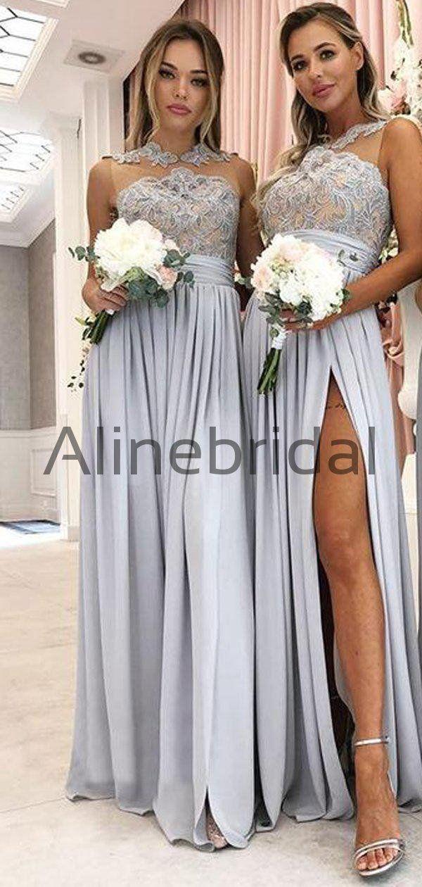 Vestidos de dama de honor largos de limo de cuello alto con ilusión de encaje de jersey gris, AB4074 – US10 / Color personalizado (dejando una nota)  – Boda