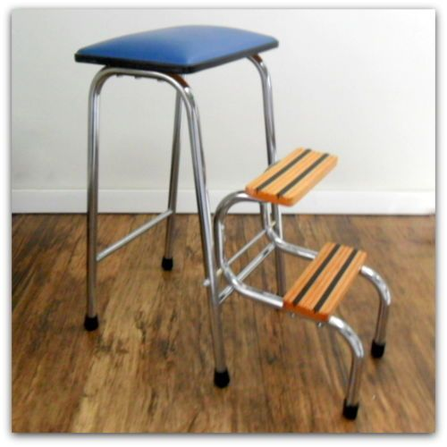 1960 s retro vintage kitchen step stool blue vinyl seat folding