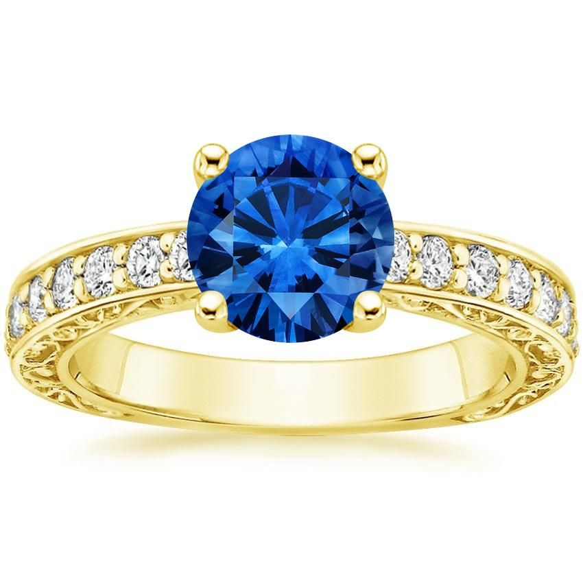 Blue Sapphire Antique Scroll Engagement Ring - 18K Yellow Gold