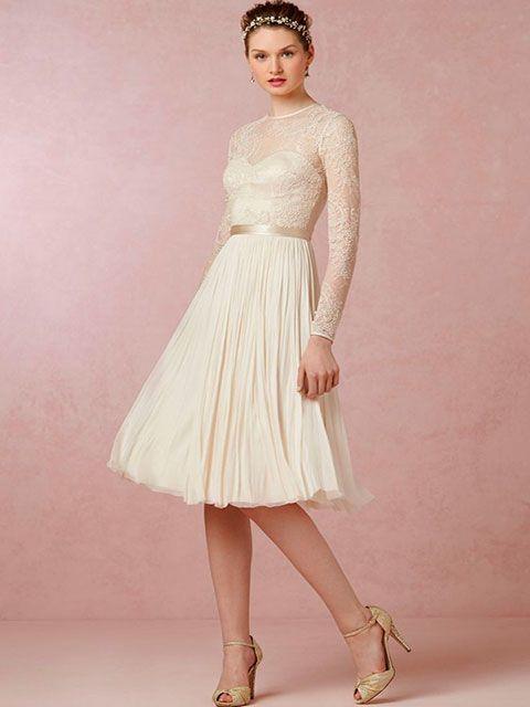 vestido de novia corto escote ilusión cuello redondo manga larga