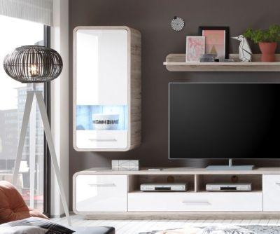 Wohnzimmerschrank Raimondo Weiss Sandeiche Dekor mit LED - h ngeschrank wohnzimmer wei