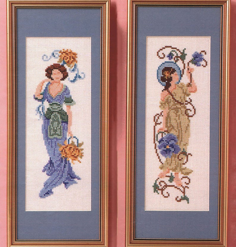 Victorian Cross Stitch Pattern Two Ladies Art Nouveau Embroidery