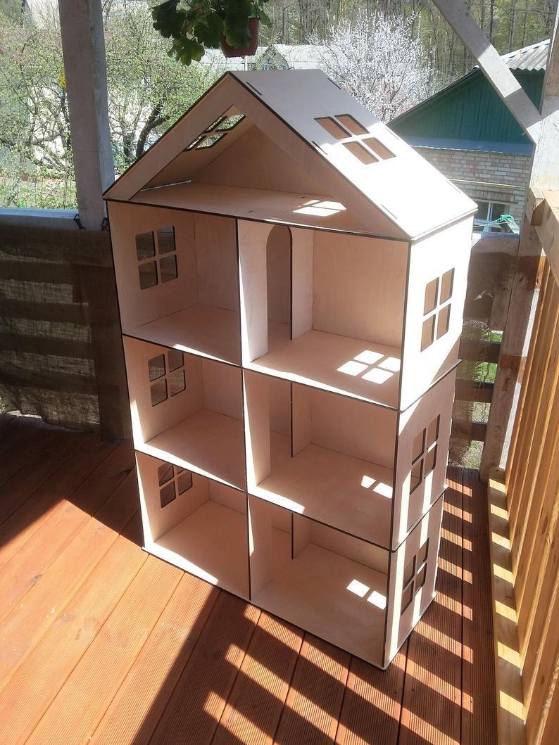 Big Wooden Barbie Dollhouse Dollhouse miniatura 4 pisos