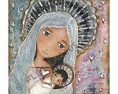 Sharing Hearts -  Mother and Baby - Print from Painting by FLOR LARIOS (7 x 7 inches)