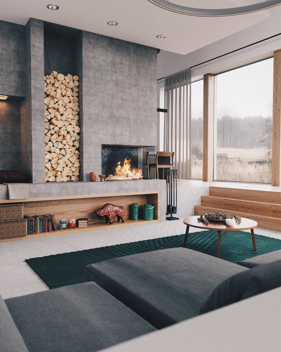 Minimal Interior Design Inspiration 176 Sunken Living Room Contemporary Fireplace Contemporary Fireplace Designs