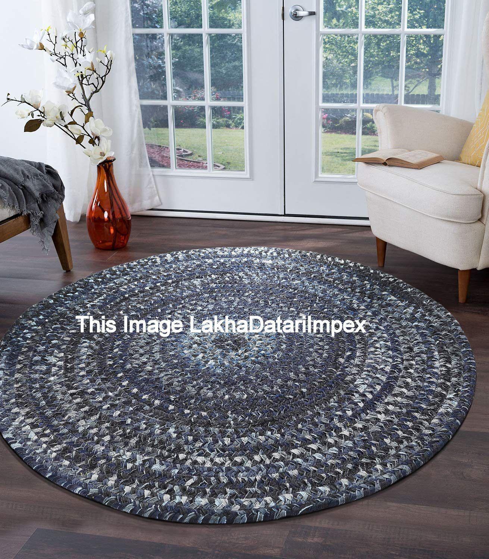 3 /& 5 Feet Indian Cotton and Jute Multi Color Round Floor Rug Yoga Mat Carpet 2