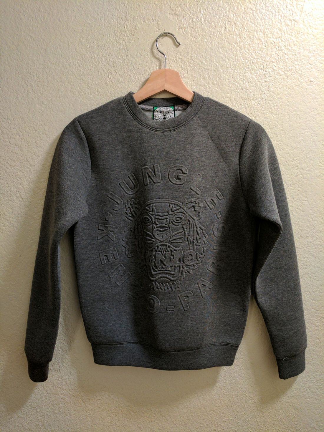 0607450dab83 Kenzo Gray Tiger Embossed Crewneck Sweatshirt Size S  99 - Grailed