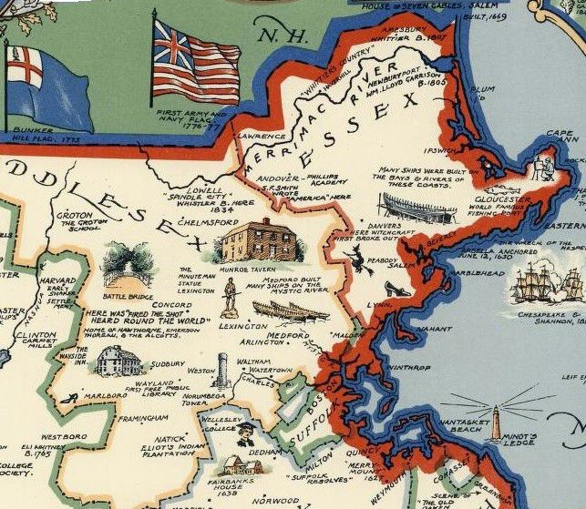 Salem Witch on Pictorial Map Massachusetts, Brown, 1930.
