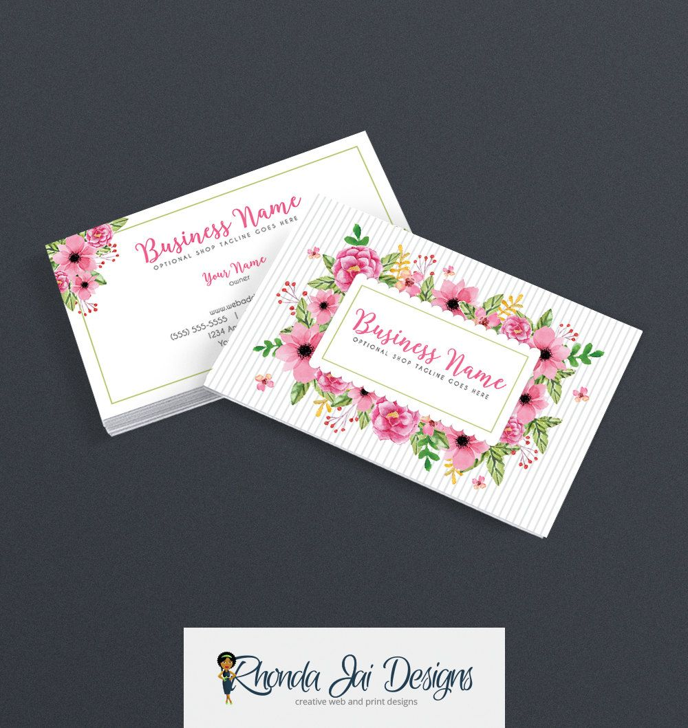 Business Card Designs - Etsy Shop Business Cards - 2 Sided Printable ...