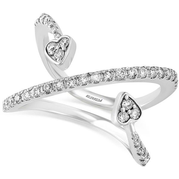 Pave Classica by Effy Diamond Double Arrow Heart Ring (3/8 ct. t.w.)... ($1,885) ❤ liked on Polyvore featuring jewelry, rings, white gold, 14k ring, 14 karat gold ring, heart shaped rings, round diamond ring and pave heart ring