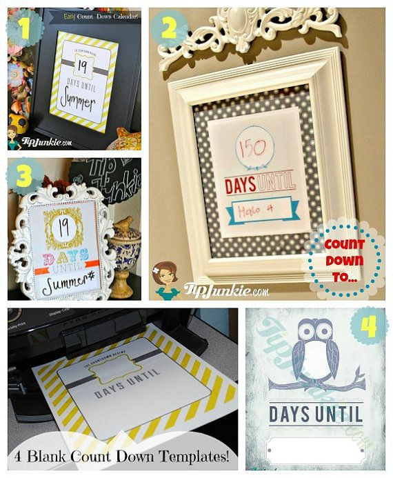 4 Count Down Calendars - Blank - Template (PRINTABLE FILE) Craft
