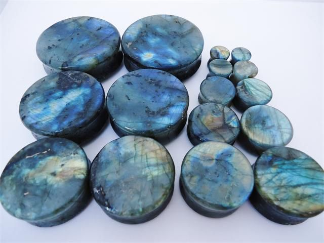 My size: 28mm (1 1/8) High Flash Labradorite Stone Plugs (0