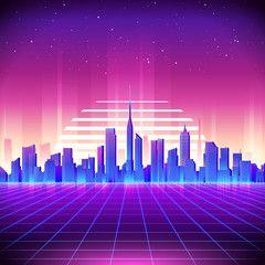 80s Retro Sci Fi Background With Neon City Vector Retro