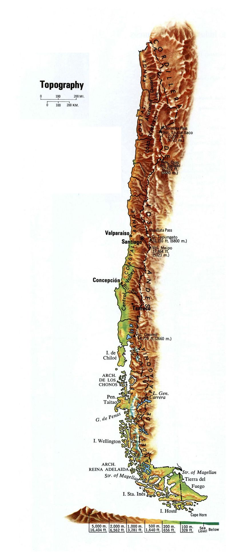 Large Topography Map Of Chile Chile Large Topography Map Topography Map Topography Geography Map