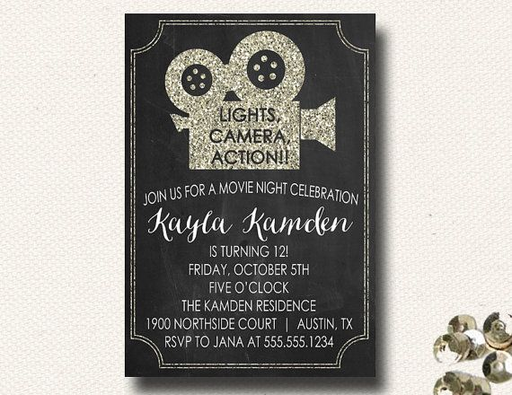 Lights Camera Action Quotes: Movie Night Invitation Movie Invitations Movie Night Party