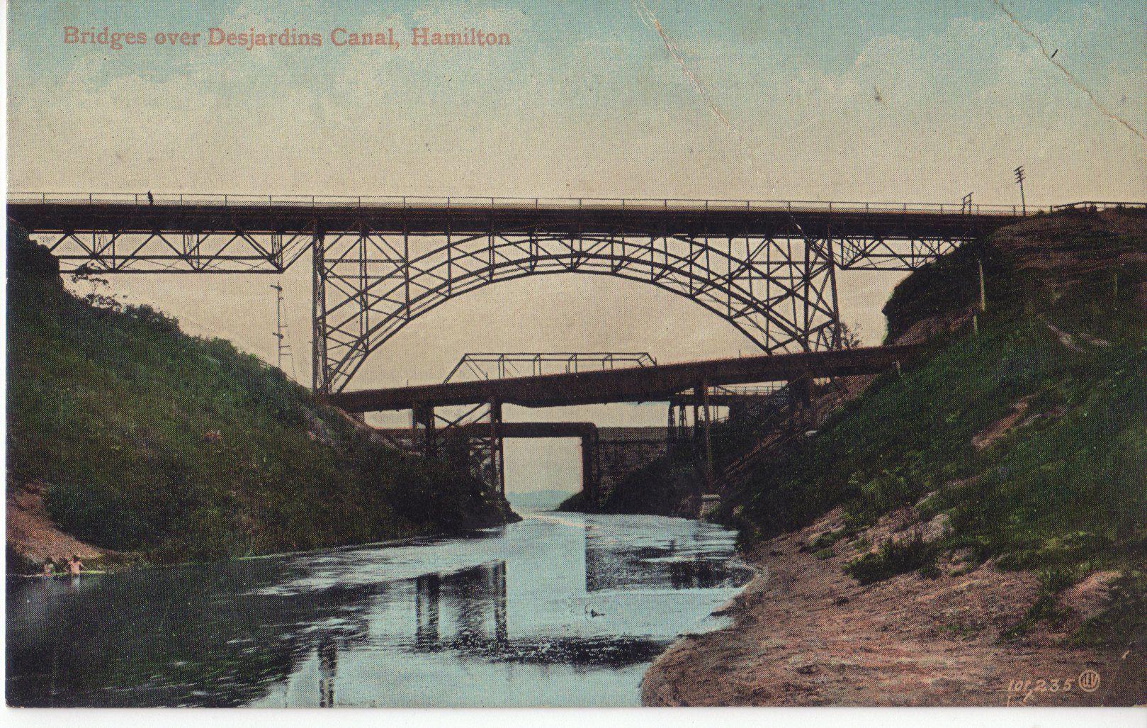 Bridges over Desjardins Canal. Postcard mailed 1908.