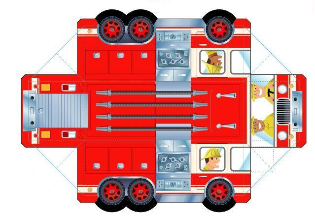 Апреля, пожарная машина из бумаги схемы развертка выкройка шаблоны
