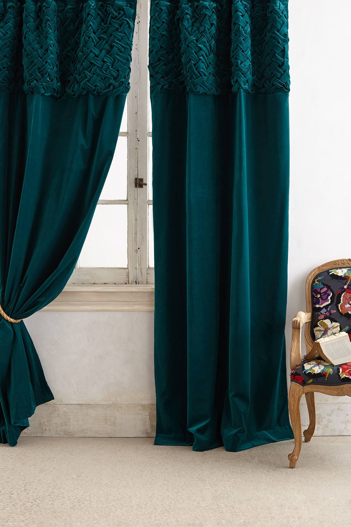 Kelly green velvet curtains - Braided Velvet Curtain
