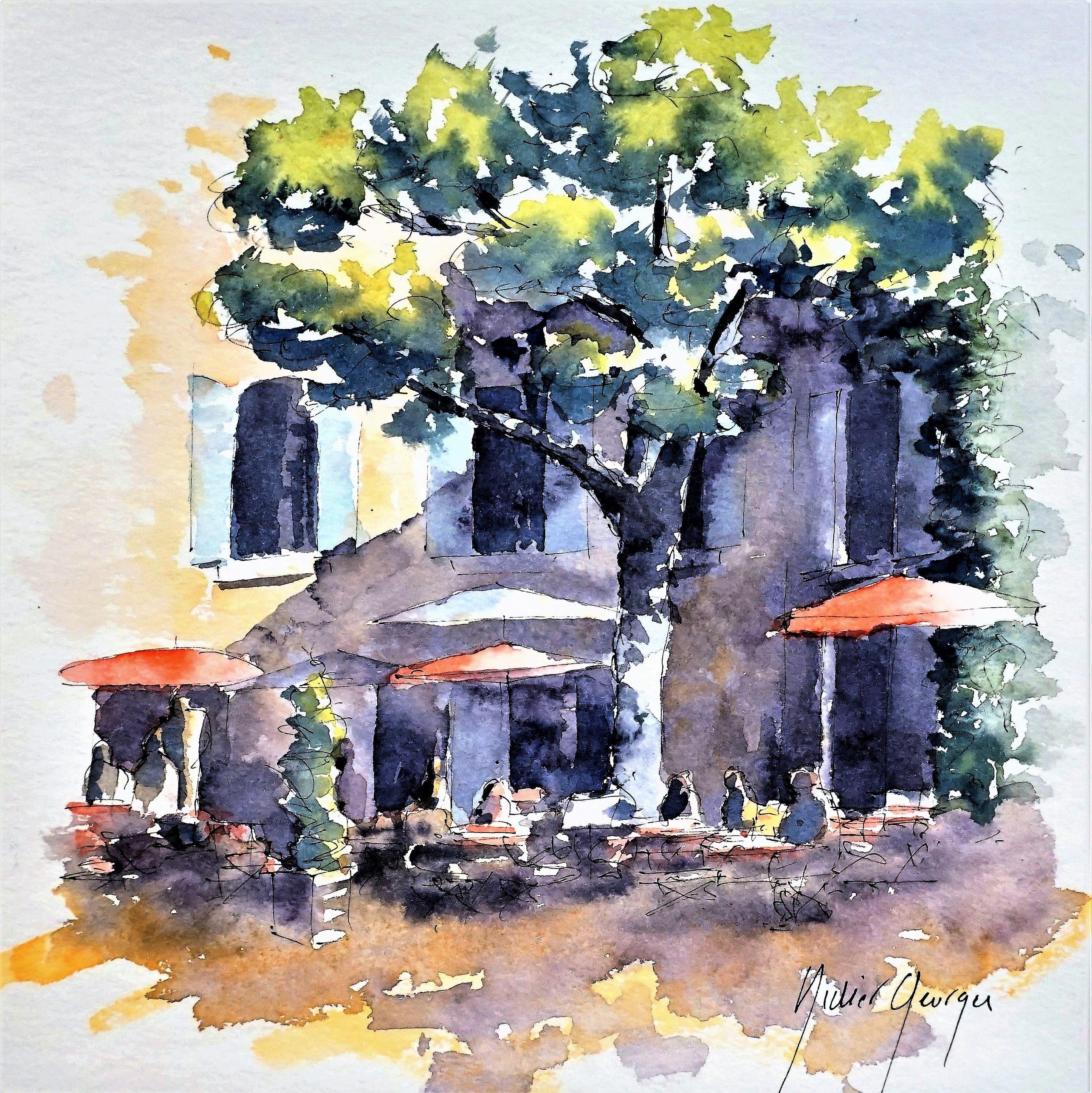 Provence Croquis Aquarelle De Didier Georges Landscape Sketch