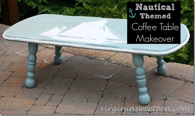 Nautical Themed Coffee Table Makeover Beachy Cottage Home Decor Bungalow Sailboat