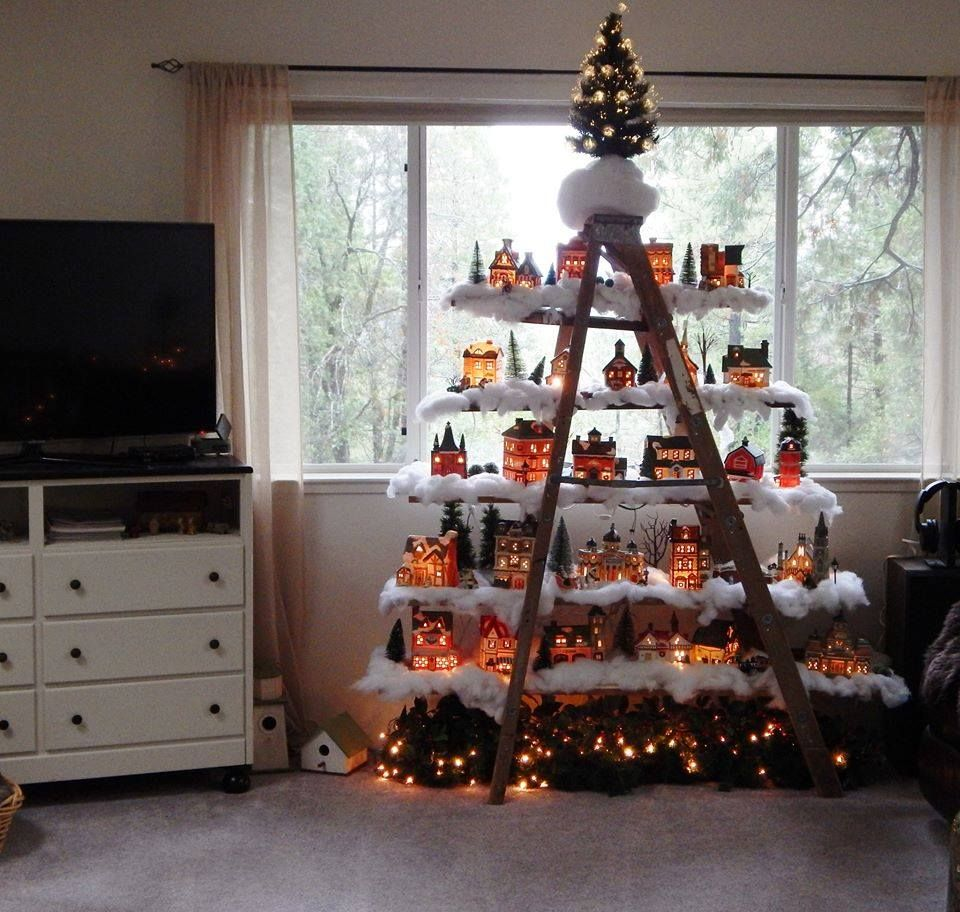 Christmas Village Decorations Ideas: Here Is Another Ladder Village Pix I Found