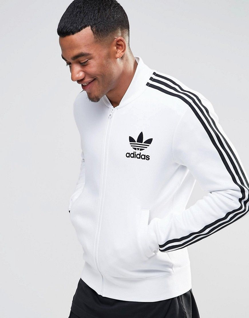 adidas Originals 3 Stripes Jacquard Jersey (WhiteBlack)