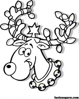 free christmas reindeer in lights coloring page for kids print out grinch coloring pages printable