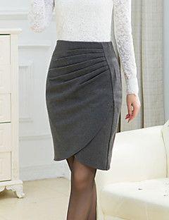 c3704f9bba De las mujeres Faldas-Sobre la rodilla Tallas Grandes   Para Trabajo  Microelástico-Poliéster Más
