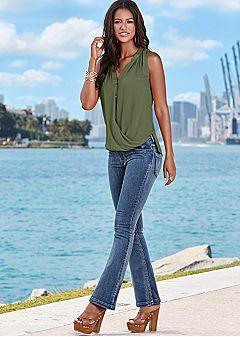 draped sleeveless shirt, boot cut jean, platform sandal